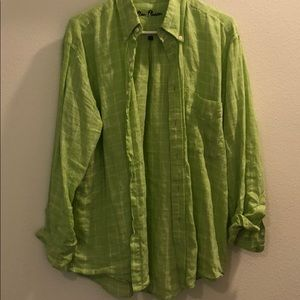 Lime green button down size M